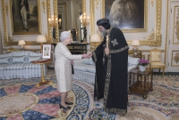 Queen Elizabeth II meets Pope Tawadros II and Bishop Angaelos at Windsor Palace