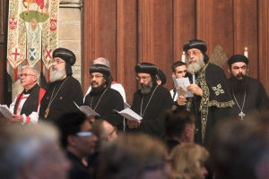 HH Pope Tawadros II prays with Archbishop of Canterbury at Westminster Abbey